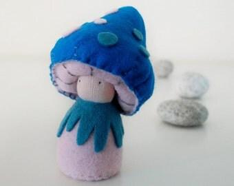Felt pocket doll, felt mushroom, Toadstool, Creative playthings, organic toy, Blue - Cybian