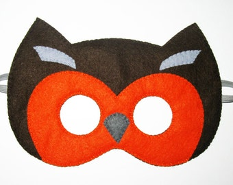 Owl felt mask - Brown Orange Grey - boys girls animal costume - soft Dress up play accessory for kids - Theatre roleplay - Gift for kids