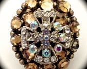 Champagne Topaz Swarovski Crystal with Maltese Cross, Stretch Band Statement Ring, each