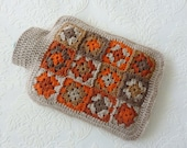 Hot Water Bottle Cover Crochet, Hot Water Bottle Cozy, granny square cover