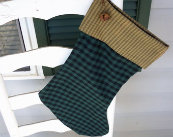 Primitive Green Checked Flannel Christmas Stocking