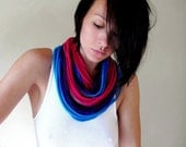 Eco Friendly Scarf Necklace - Upcycled Jersey Cotton Scarf Necklace - Aqua Blue, Fuchsia Pink, Purple