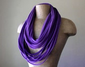 Extra Long Purple Scarf Necklace - Upcycled Eco Friendly Jersey Cotton Scarf in Shades of Purple