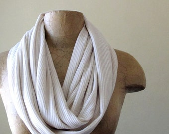 IVORY Sweater Scarf - Ribbed Knit Infinity Scarf - Handmade Circle Scarf - Earthy Loop Scarf