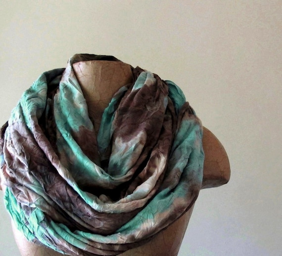 Tie Dyed Chunky Scarf - Oversized Extra Long Scarf - Seafoam Green, Brown, Taupe - Bohemian