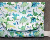 Baby diaper pouch/clutch- easy to clean, thin, light, big space, Dinosaur PUL outside with turquoise waterproof PUL inside
