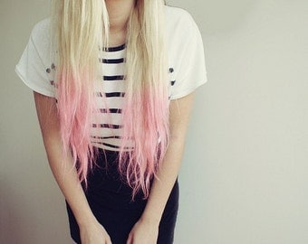 Purple Dip Dyed Hair Extensions For Blonde Hair, 20-22 inches long, Clip In Hair Extensions, Hippie Hair, Pastel Festival Hair