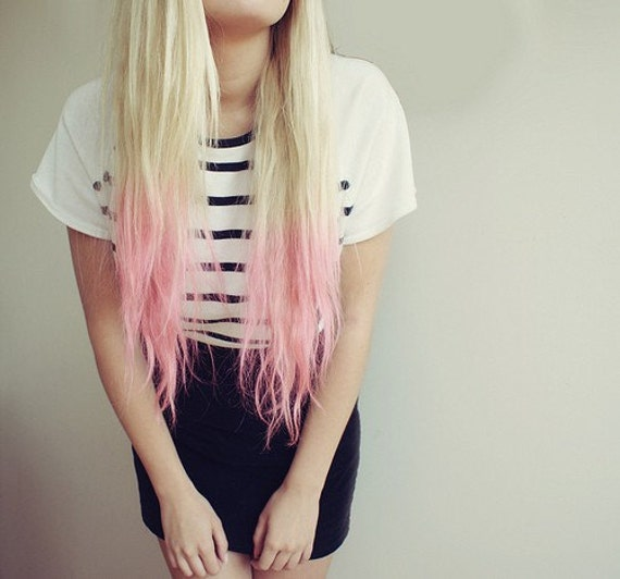 Blonde Extensions With Pink Tips 86