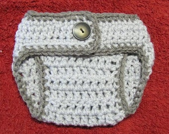 newborn size diaper cover in grays (matches sleepy gray owl hat)