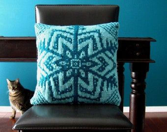 Knitting Pattern for Snowflake Pillow Cover