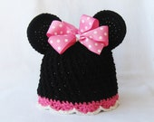 CROCHET PATTERN Minnie Mouse Hat with BONUS hair bow tutorial (5 sizes included) Instant Download