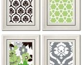 Set of Four Modern Green/Gray Wall Art - Print Set - Home Decor - 8x11 Print (Unframed)