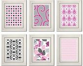 Set of Six Modern/Vintage Fuchsia/Black Wall Art - 8x11 Print Set - Home Decor - For Home (Unframed)