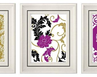 Set of Three Modern Gold/Purple Wall Art- 8x11 Print Set- Home Decor (Unframed)