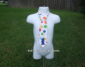 Multi-Color Dot Neck Tie with Collar/Applique Number