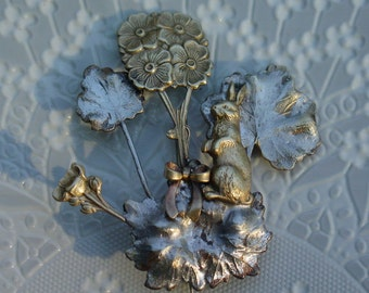 Rabbit in Flower Garden Brooch
