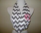 Monogrammed Infinity scarf -  grey and white chevron knit / zig zag