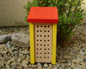 Solitary BEE HOUSE, Yellow and Red, Hand Made, Hand Painted. Ready to Ship