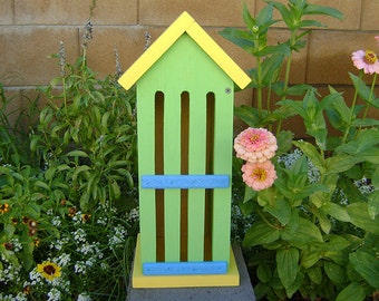 BUTTERFLY HOUSE, Green, Yellow, Blue, Insect Hotel. Hand Made, Hand Painted Pine