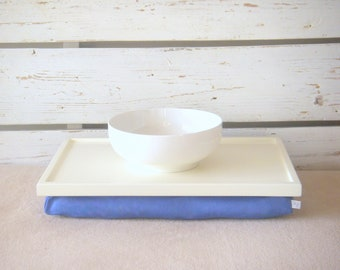 Breakfast serving or Laptop Lap Desk- Off White with Blue Linen farbric