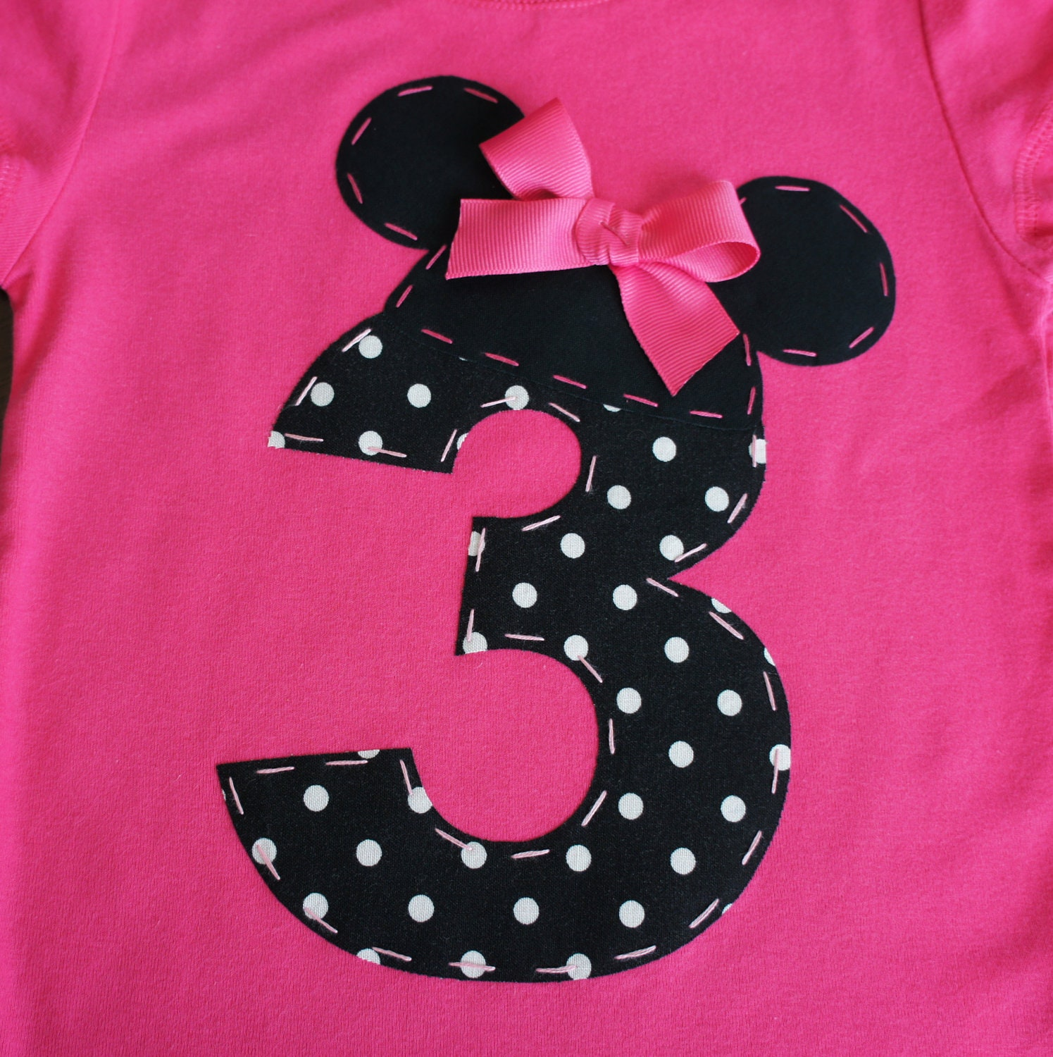 18-24m ONLY Minnie Mouse Ears And Number By AStitchUponAStar