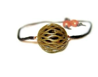 Adjustable Brass Filigree Bead Pendant Necklace On Silk Yarn With Wooden Skull Monk Prayer Beads