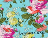 1/2 yard LAMINATED cotton fabric remnant (18 x 40) - Sketchbook Spring Alchemy - Amy Butler (aka coated vinyl fabric) BPA free