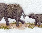 Elephant and Calf Embroidered Flour Sack Hand/Dish Towel