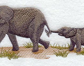 Elephant and Calf Embroidered Flour Sack Hand/Dish Towel