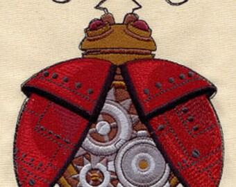 Steam Motifs Steampunk Lady Bug Embroidered Flour Sack Hand/Dish Towel
