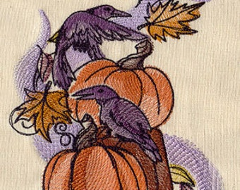 Watercolor Style Raven and Pumpkins Embroidered Flour Sack Hand/Dish Towel