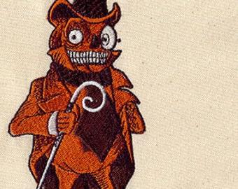 Creepy Pumpkin Man Jack-o-lantern Embroidered Flour Sack Hand/Dish Towel
