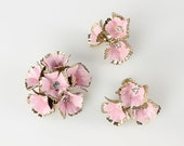 Carnation Flower power brooch earrings Set Pink enamel Rhinestone