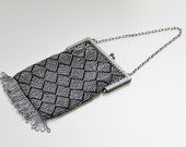 Vintage Art Deco Silver Metal Bead Black Purse 20s