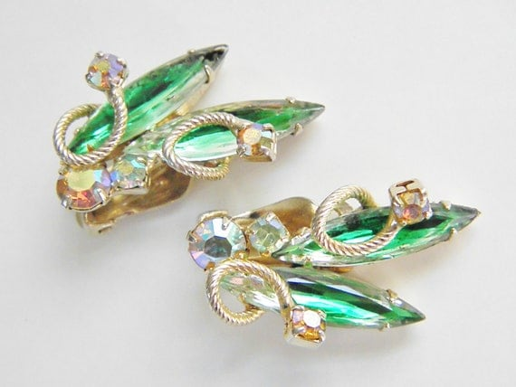 Vintage Juliana Green Rhinestone Earrings, 60s