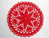 """Round crochet doily / red doilies /lace / 8 """""""