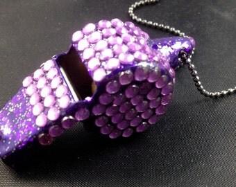 Lavender Rhinestone Covered Whistle