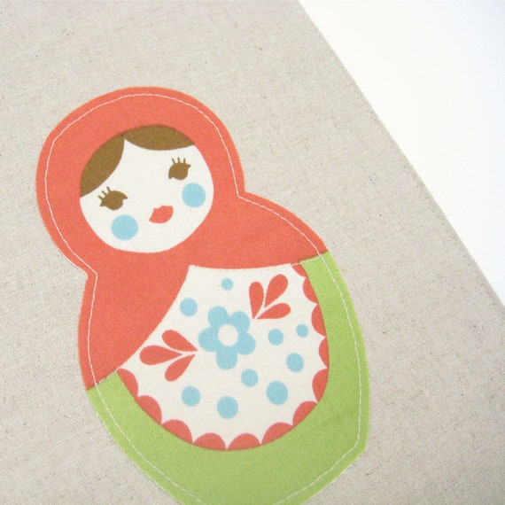 Academic Planner 2013 2014, Red green Matryoshka doll on Natural linen fabric cover for A5 2013 diary, Lined A5 hardcover notebook