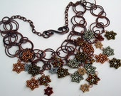 Copper Chain Seed Bead Statement Necklace
