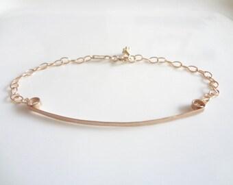 Gold Filled Curve Bar Bracelet, Minimalist, Gold Bracelet, Adjustable, Fashion, Bridesmaids, Weddings, Handmade Jewelry, Jewellery