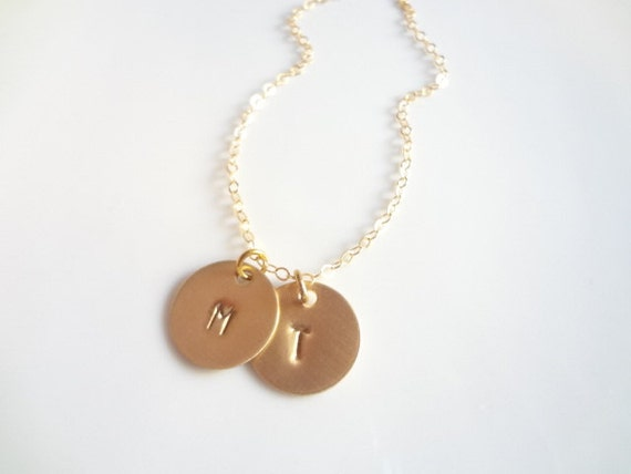 Hand Stamped Two Initial Monogram 2 Disc Gold Filled Chain Necklace Bridesmaids Letter Round Personalized Charms Letter Handmade Jewelry