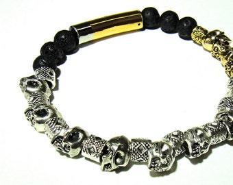 Heavy Metal Silver and Gold Skull Mens Bracelet