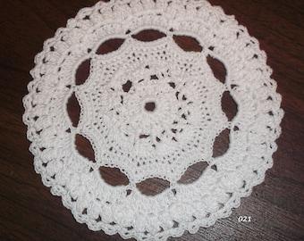 Crocheted White Doily (Item 021)