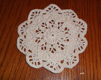 Crocheted ecru colored doily (e29)