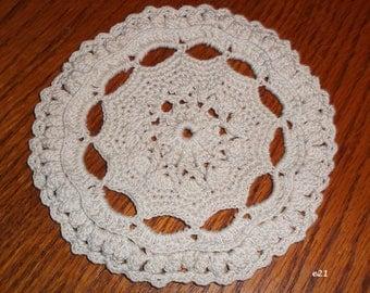 Small Crocheted Ecru Doily (e21)