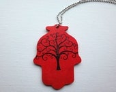 Personalized Hamsa Tree of Life Rearview Ornament - Red