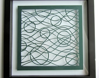 Circles and Waves Silhouette Paper Cut Wall Art Home Décor  ORIGINAL Design SIGNED  Handcut Handmade in Forest Green FRAMED  One Of A Kind