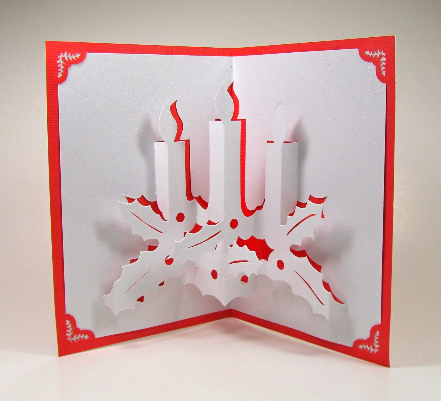 CHRISTMAS CANDLES 3D Pop Up Greeting Card Home Décor by BoldFolds: www.etsy.com/listing/112946126/christmas-candles-3d-pop-up-greeting