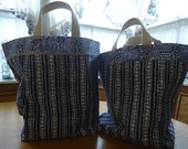 2 Market totes lined with Vintage seed sack material.  Extra heavy duty.