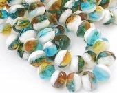 Czech Glass Beads Faceted Rondelles 6x8 Aqua White Topaz 12 Pieces  B602